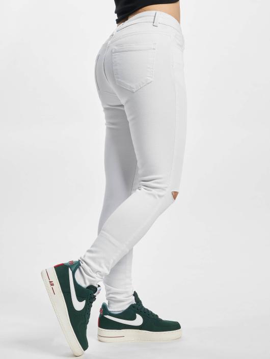 Urban Classics Straight Fit Jeans Ladies Cut Knee hvit
