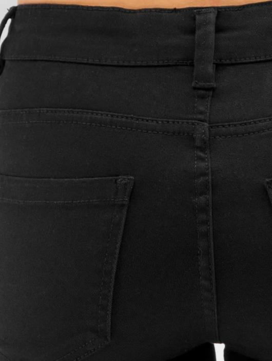 Urban Classics Straight Fit Jeans Ladies Cut Knee svart