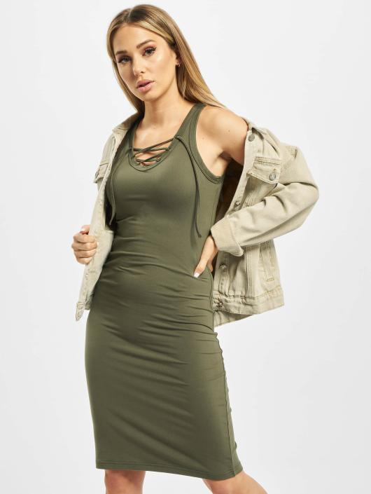 Urban Classics Sukienki Lace Up oliwkowy