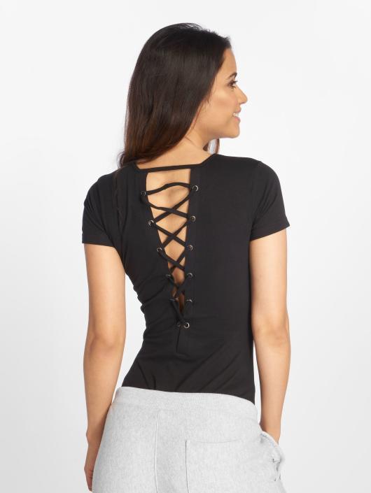 Urban Classics T-Shirt Ladies Lace Up black