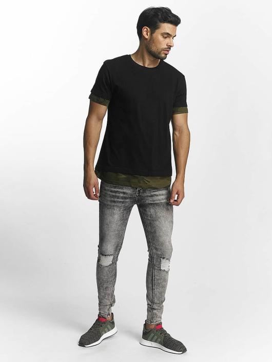 Urban Classics T-Shirt Long Shaped Camo Inset black