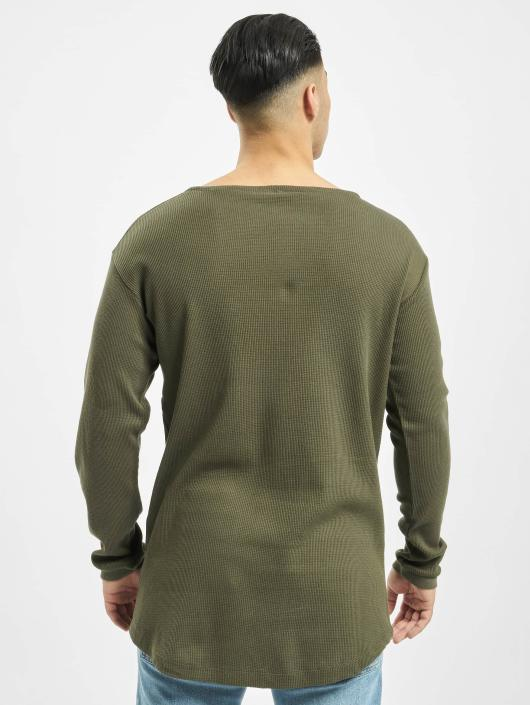 Urban Classics T-Shirt manches longues Long Shaped Waffle olive