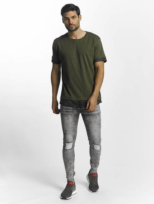 Urban Classics T-Shirt Long Shaped Camo Inset olive