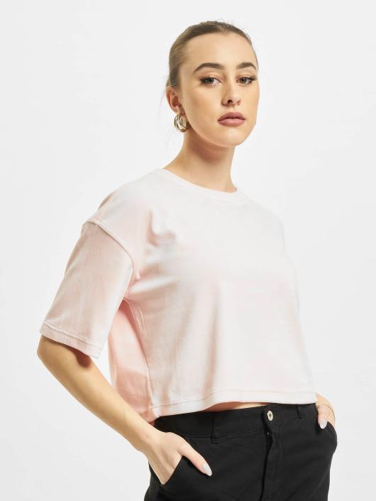 Urban Classics T-Shirt Velvet Short Kimono rosa