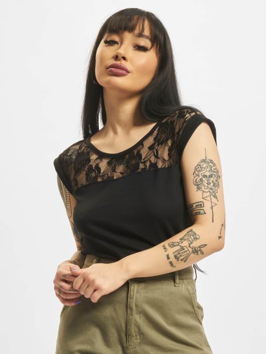 Urban Classics T-Shirt Ladies Top Laces schwarz