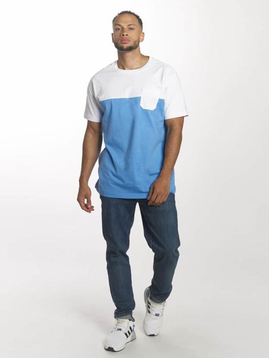 Urban Classics T-shirts Color Block Summer Pocket blå