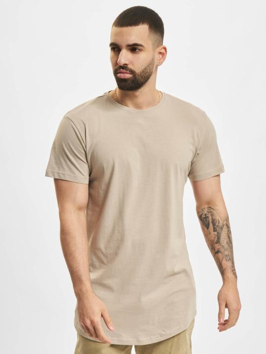 Urban Classics T-Shirty Shaped Long brazowy