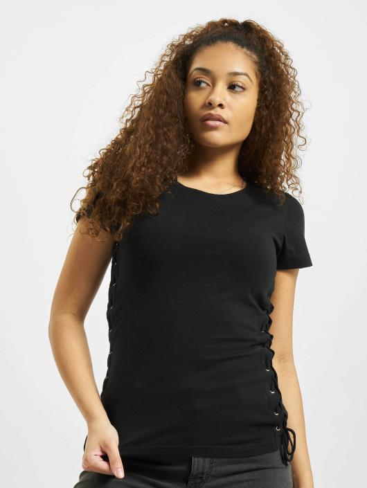 Urban Classics T-Shirty Washed Laced Up czarny