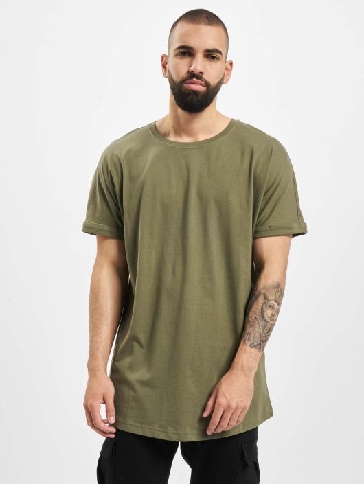 Urban Classics T-Shirty Long Shaped Turnup oliwkowy