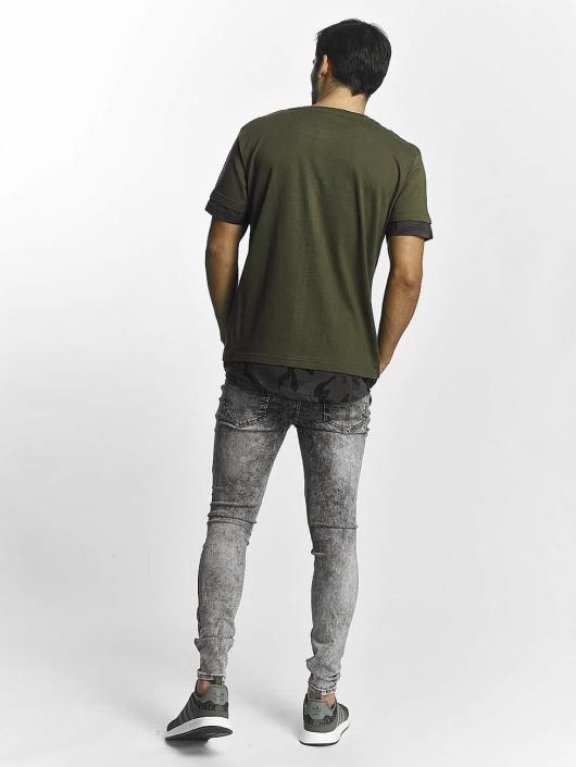 Urban Classics T-Shirty Long Shaped Camo Inset oliwkowy