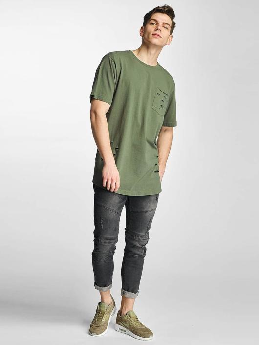 Urban Classics T-skjorter Ripped Pocket oliven