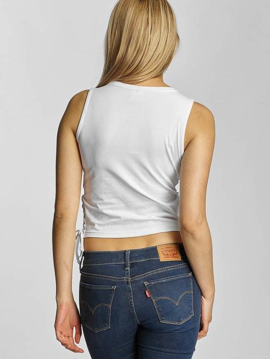 Urban Classics Tank Tops Lace Up Cropped bialy
