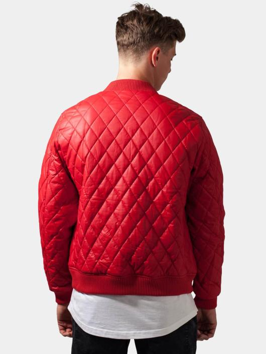 Urban Classics Transitional Jackets Diamond Quilt Leather Imitation red