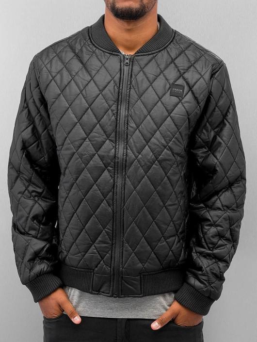 Urban Classics Übergangsjacke Diamond Quilt Leather Imitation schwarz