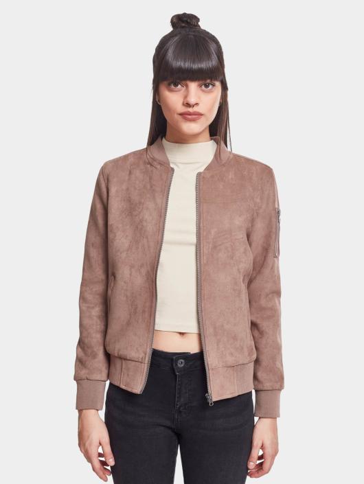 Suede Bomber Jacket Taupe Imitation Classics Ladies Urban SGzVpqUM