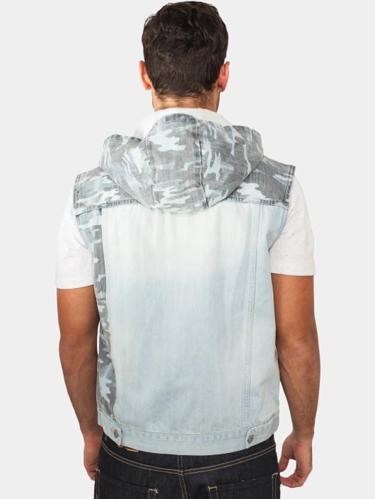 Urban Classics Vesty Hooded Camo Denim modrá