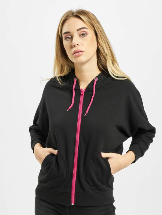 Urban Classics Zip Hoodie Ladies Bat 3/4 Sleeve svart