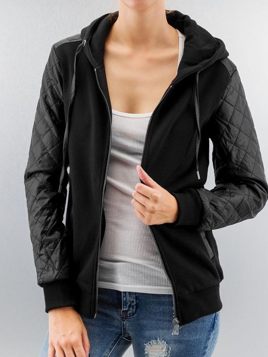 Urban Classics Zip Hoodie Diamond Leather Imitation Sleeve svart