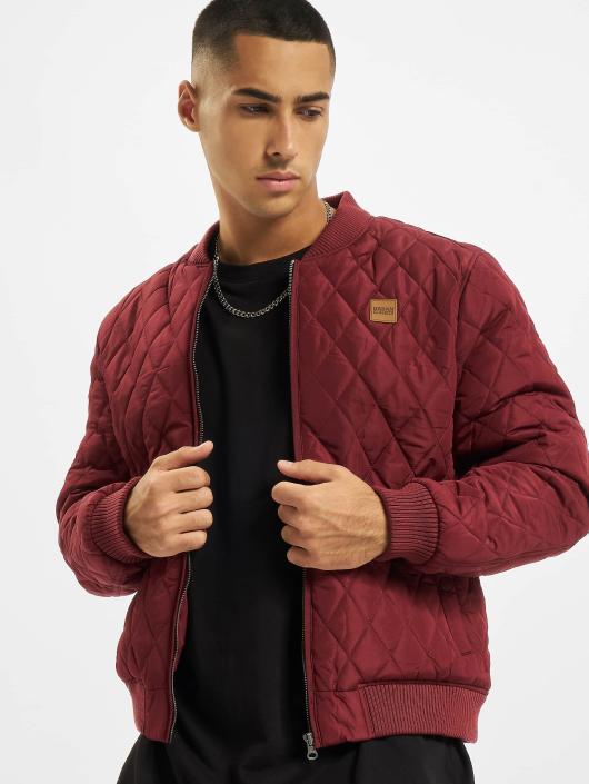 Urban Classics Zomerjas Diamond Quilt Nylon rood