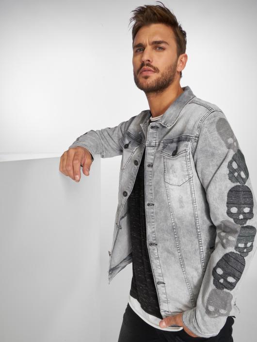 VSCT Clubwear Denim Jacket Skull Sleeve Muscle Fit gray