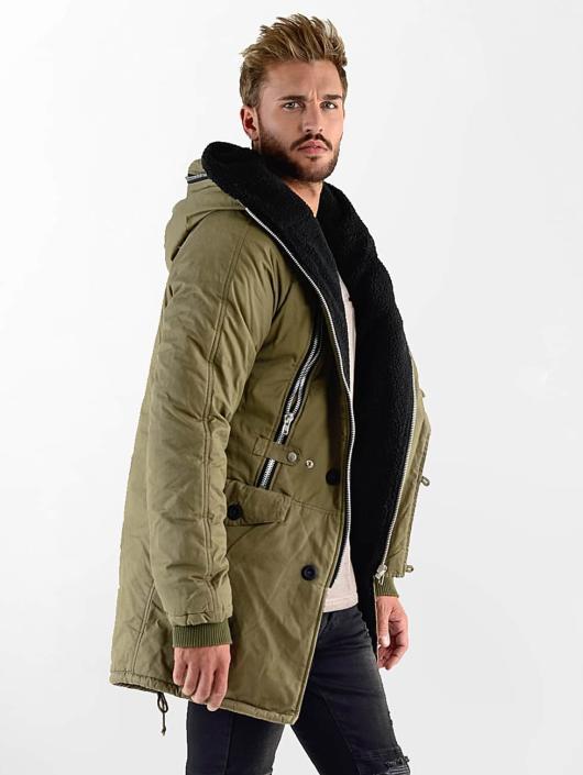 VSCT Clubwear Manteau hiver Double-Zipper Huge Luxury kaki