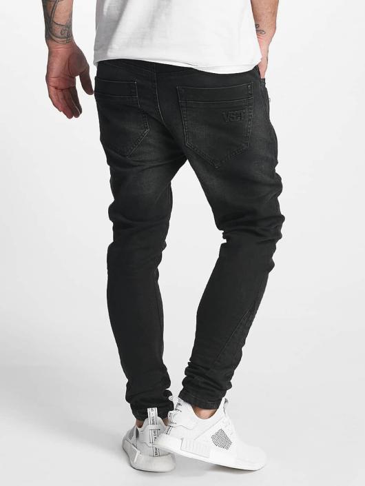 VSCT Clubwear Slim Fit Jeans Thor Slim 7 Pocket with Zips èierna
