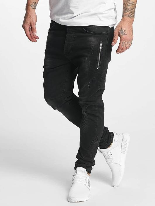 VSCT Clubwear Slim Fit Jeans Thor Slim 7 Pocket with Zips svart
