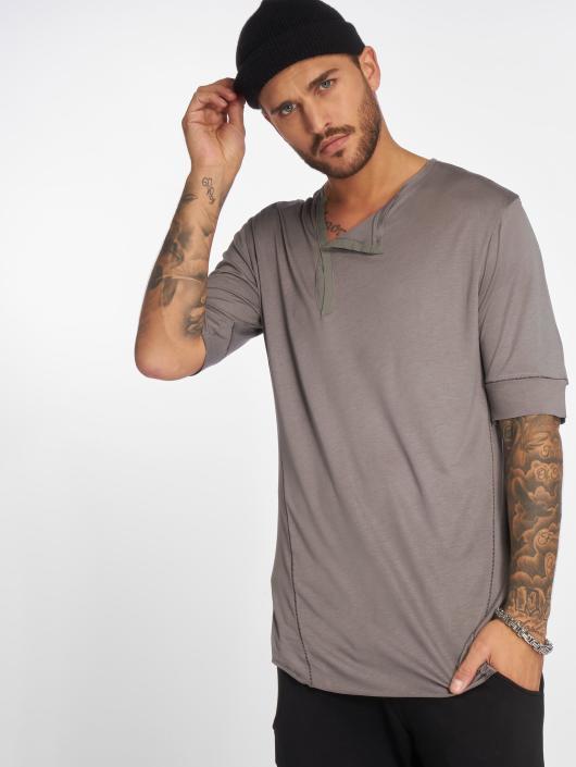 VSCT Clubwear Tričká 1/2 Cut Collar šedá