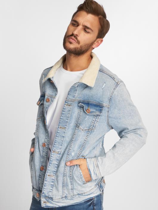VSCT Clubwear Veste Jean Trucker Sherpa bleu