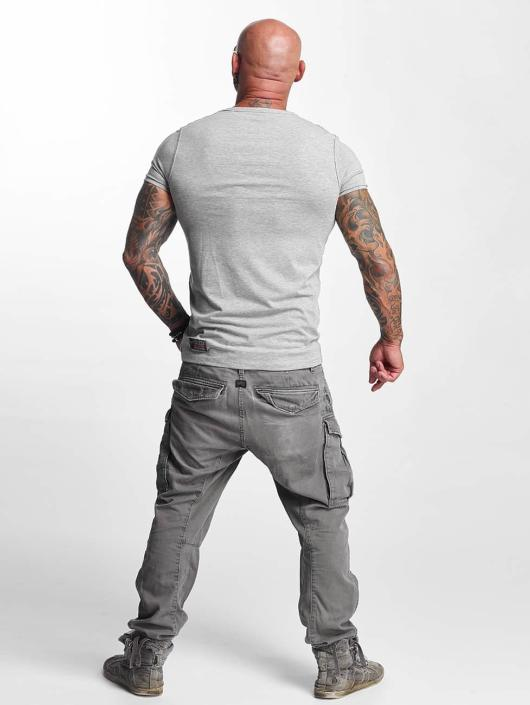 Yakuza T-Shirt Basic Line V-Neck grau