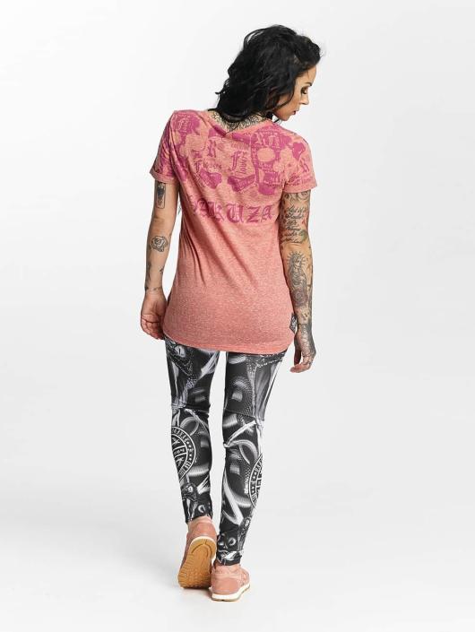Yakuza T-shirt Skull Script Boyfriend rosa chiaro