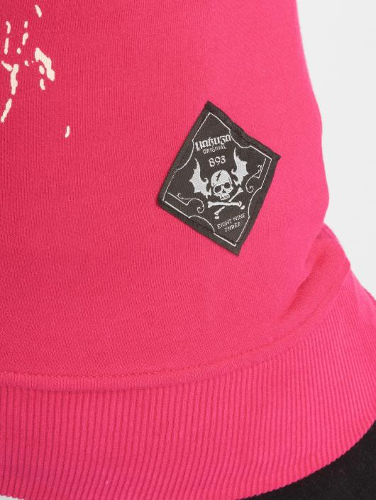 Yakuza Vetoketjuhupparit Skull Mixed Long vaaleanpunainen