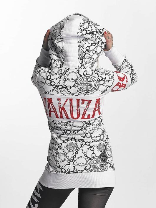Yakuza Vetoketjuhupparit Allover Chains valkoinen