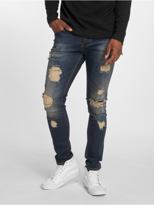 2Y Slim Fit Jeans Destroyed blå
