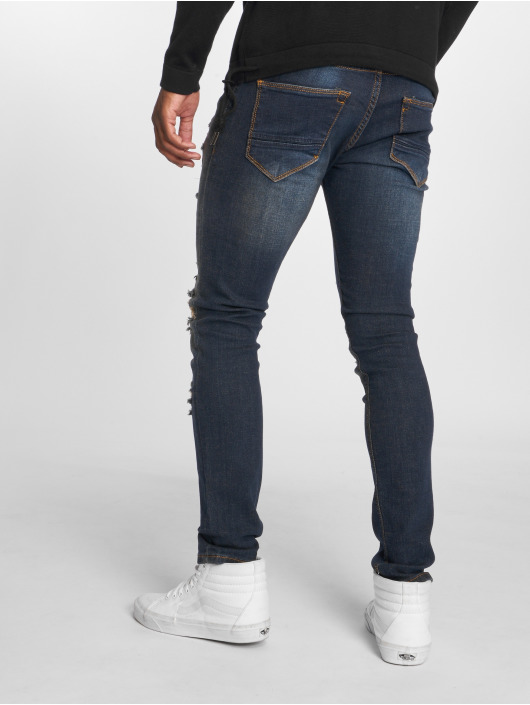 2Y Slim Fit Jeans Destroyed modrá
