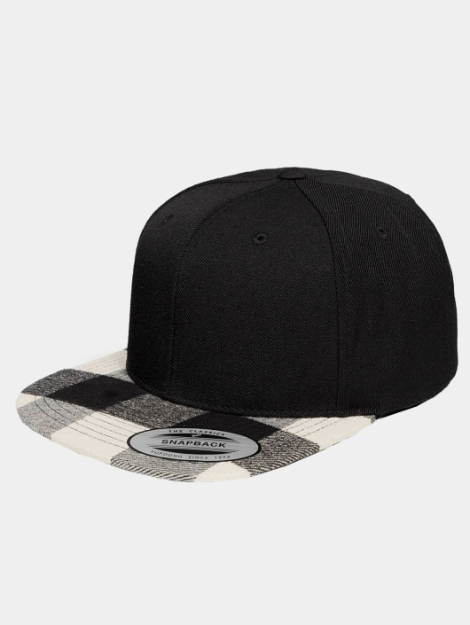 Flexfit Snapback Cap Cheched Flanell Peak schwarz