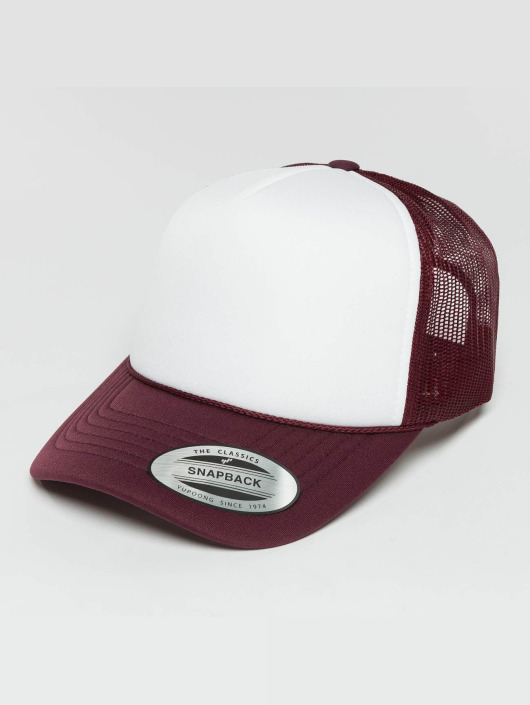 Flexfit Trucker Caps Curved Visor Foam czerwony