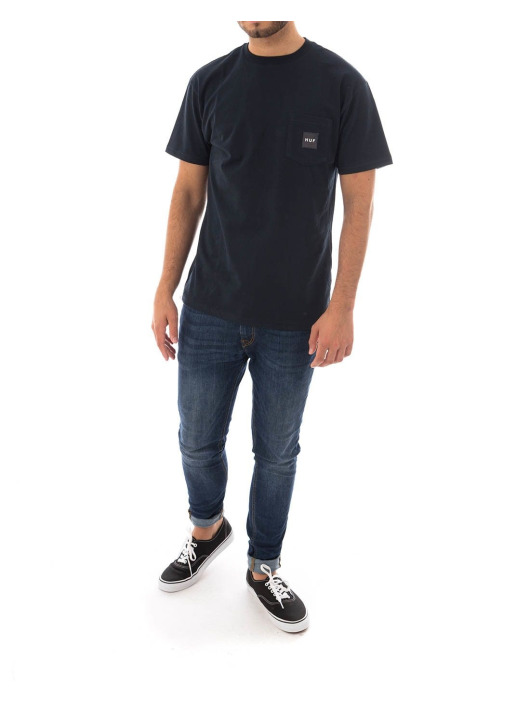 HUF T-Shirty Box Logo Pocket niebieski
