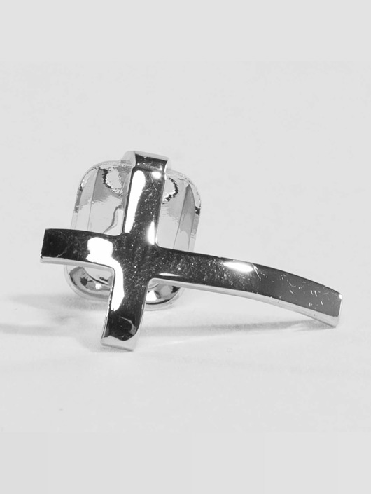 KING ICE More Rhodium_Plated Cross Single Tooth Cap Top silver colored