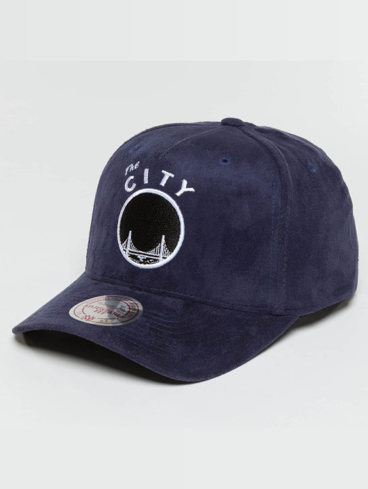 Mitchell & Ness Snapback Caps 110 Curved HWC Golden State Warriors Suede blå