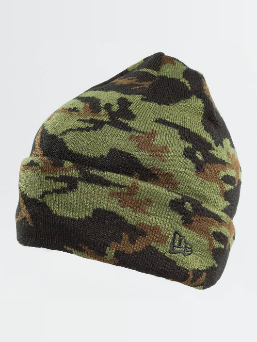 New Era Hat-1 New Era Camo Cuff Beanie Woodland camouflage