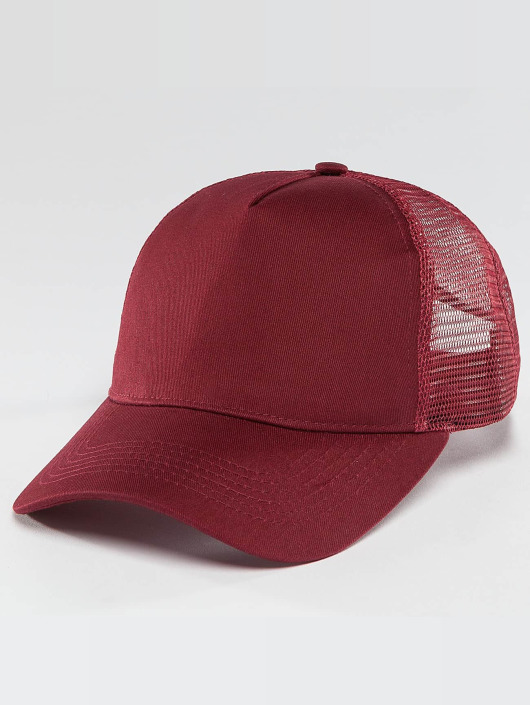 TrueSpin Trucker Cap Blank Round Visor red