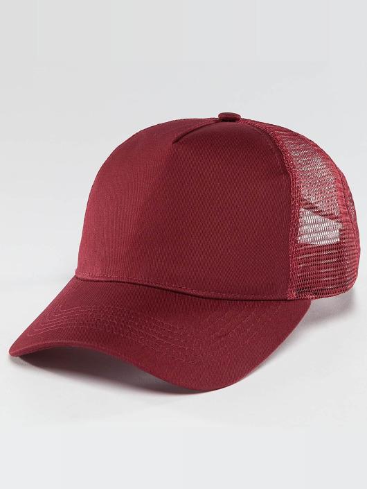 TrueSpin Trucker Caps Blank Round Visor červený