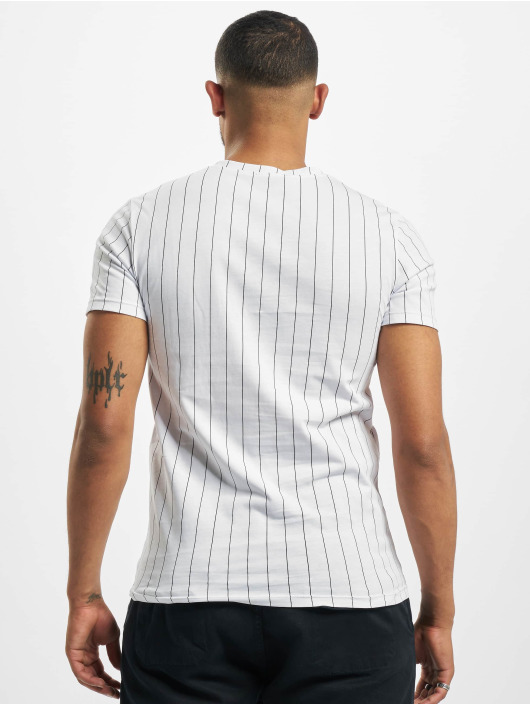 Aarhon Camiseta Pinstripe blanco