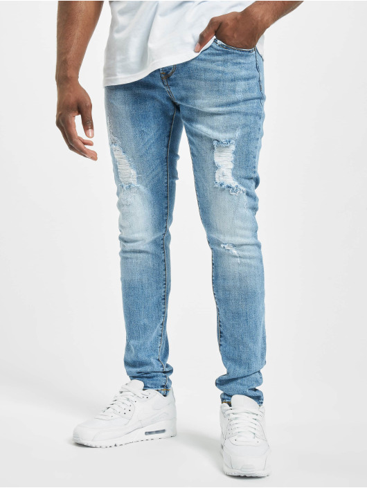Aarhon dżinsy przylegające Spencer niebieski