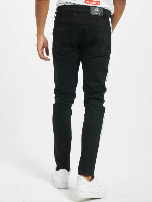 Aarhon Jeans slim fit Side Stripes nero