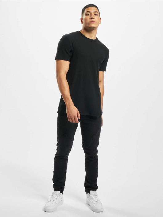 Aarhon Skinny Jeans Ripped čern