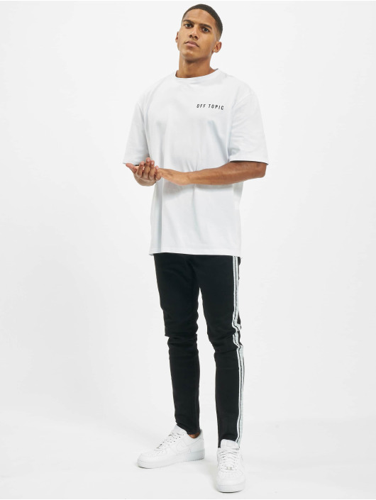 Aarhon Skinny Jeans Side Stripes čern