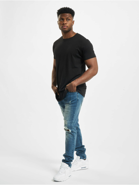Aarhon Skinny Jeans Cuts Out modrý