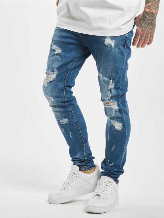 Aarhon Skinny Jeans Speckled Destroyed niebieski
